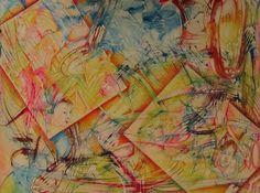 "DIPINTO opera d'arte astratta abstract acrylic on canvas  turquoise red orange yellow green ""Rimembranze"" di SumanDimension su Etsy"
