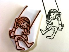 girl with her swing stamp. girl rubber stamp. hand carved rubber stamp. story telling. diy birthday. craft projects.