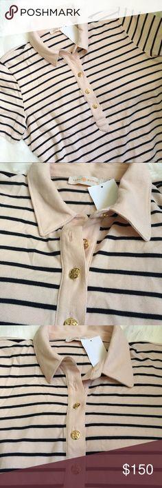 5a4e2454cec0 BNWT Tory Burch Polo Shirt with Stripes brandnew, peach tone with navy blue  stripes polo