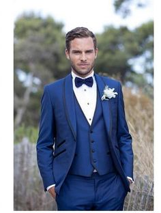 >> Click to Buy << 2016 Cheap Single Breasted Custom Made Blue Men Suits 3 Pieces Wedding Suits Tuxedos Suits Groom Tuxedos (Jacket+Pants+Vest) #Affiliate