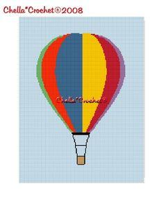SALE see SHOP for details Chella Crochet Hot Air Balloon Afghan Crochet Pattern Graph Chart .PDF