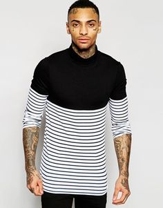 ASOS Extreme Muscle Long Sleeve T-Shirt With Stripe Panel And Roll Neck