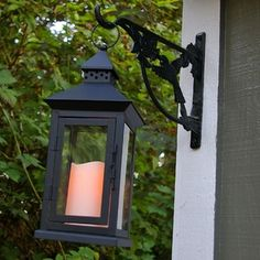 Metal Lantern with Flameless Pillar Candle, 6 x 14 in., Timer, Black