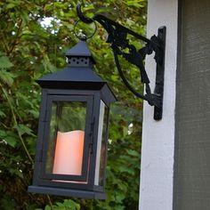 Metal Lantern with Flameless Pillar Candle, 6 x 14 in., Timer, Black