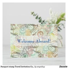 Passport stamp Travel Invitation Card-Thank you   Zazzle.com