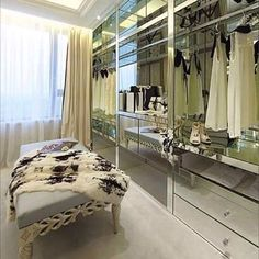 Vanity Is My Name #fur #furblanket #spottedfur #blackandwhitefur #walkincloset #mirrored #mirroredfurniture #vanity #ottoman #interior #interiordesign #decor #decorated #decorating #closetwithaview #poshcloset #swishcloset #infurmagazine #dreamcloset #iwantthiscloset #keeitchic #globalstyle #furstyle #manoswartz #est1889
