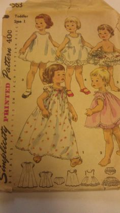Simplicity 1563  size 1  Toddler  Awesome vintage pattern toddler's lingerie wardrobe!  nightgown, slip, panties, and petticoat