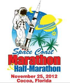 The logo for the 2012 Space Coast Marathon on Sunday November 25th in Cocoa, Florida.  www.spacecoastmarathon.com
