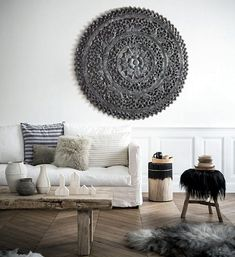 cuadro en relive de estilo etnico colonial, roseton birmano en color negro, perfecto para decorar entradas, salones, tambien es perfecto como cuadro para exterior