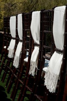Mahogany chiavari chairs, with white seat cushions, and white scarfs by Cause for Celebration LLC. Summer Wedding, Our Wedding, Wedding Ideas, White Scarves, Wedding Photography Inspiration, Luxury, Celebrities, Aisle Decorations, Chiavari Chairs