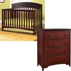 Graco Charleston 4-in-1 Convertible Classic Crib and 4-Drawer Dresser, Classic Cherry with Bonus Mattress