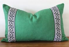 NEW- Greek Key Trim Pillow - Pillow - Green Slub Linen- Black and White Greek Key