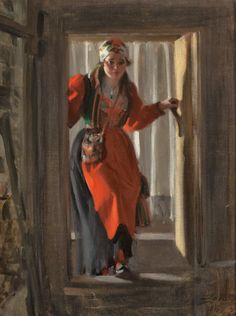 Anders Zorn - Entering the Cellar, 1916 (1860-1920) It looks like Aunna!!