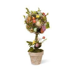 Garden Accents Easter Egg Topiary ($36) ❤ liked on Polyvore featuring home, home decor, holiday decorations, outdoor pots, outdoor holiday decor, outside flower pots, outdoor home decor and holiday decor