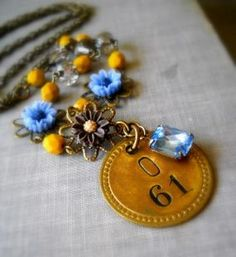 Gold Coin with Light Sapphire Rhinestone Necklace - JUNKMARKET Style