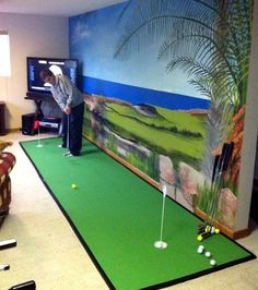 A putting green for a golf theme Golf Man Cave, Indoor Putting Green, Home Putting Green, Golf Room, Ultimate Man Cave, Golf Theme, Pub, Man Cave Home Bar, Room Themes