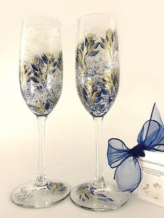 Hand Painted Champagne Glasses - Elegant Navy Blue and Gold Roses Set of 2 - Personalized 50th Wedding Anniversary Gift Idea Toasting Flutes