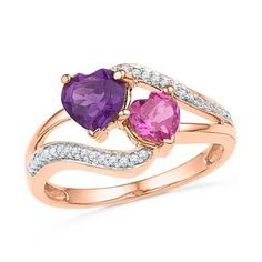 6.0mm Heart-Shaped Amethyst, Lab-Created Pink Sapphire and Diamond Accent Ring in 10K Rose Gold