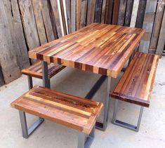Custom Outdoor/ Indoor Rustic Industrial/ by KageDesignStudio Wood Patio, Wood Table, A Table, Dining Table, Dining Room, Metal Furniture, Industrial Furniture, Pallet Furniture, Furniture Vintage