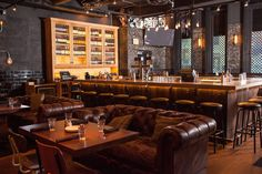 bar and leather couch.