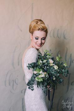 INNA Studio_ bridal bouquet / szary bukiet ślubny / eukaliptus / fot. Bajkowe Śluby
