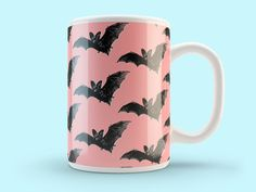 Pink & black bat Mug