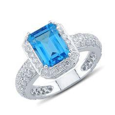 Dazzling Emerald Cut Blue Topaz Pave Diamond Gemstone Ring In 14K White Gold    $1,203.00