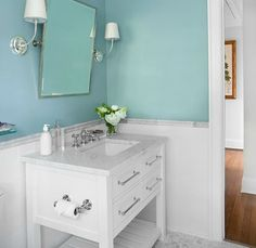 tiffany blue pain with white bathroom