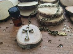 Cross Essential Oil Diffuser Necklace Made by LowcountryEclectic $15.00