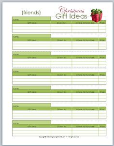 Free Printable Gift Idea Planners - Family Gift Ideas, Relatives Gift Ideas, Friends Gift Ideas, Stocking Stuffer Ideas