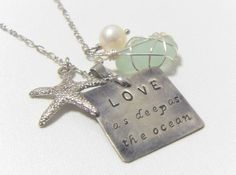 Love as deep as Ocean. silver, sea glass, and pearl..  I need this, too.