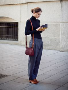 This potentially tricky style can look trés chic – just take the Coco Chanel approach and keep everything else pared-down and androgynous.   What about shoes? Tomboy-style brogues. Of course.  Alin pleat front trousers, £135, polo neck sweater, £99, both 8-18, leather cross body bag, £135 and fringed Derby shoe, £225, 37-42, all www.toast.co.uk