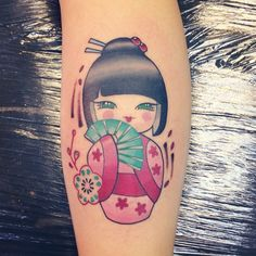 Newest addition ☺️ Little Kokeshi cutie Done by @holly_ween #kokeshidoll #japanesedoll #japanesetattoo #japanesedolltattoo #kokeshidolltattoo #cutetattoos #girlytattoos #calftattoo #girlswithtattoos #inkedgirls #bringonnumber8