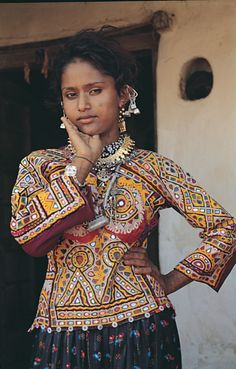 India | Vagadia Rabari in traditional dress. 1985 | ©Kala Raksha Museum. Included in their Expanding Museum for women artisans of Kutch India ~ Progress Report 'KR MUSEUM SUPPORTS Major Documentation Project'