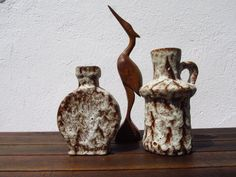 2 Vasen im Set, Mid Century, Fat lava, Vintage Vasen, braun beige, Jasba, von ShabbRockRepublic auf Etsy