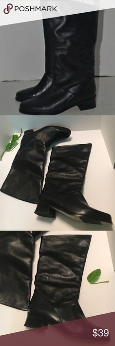 Black Leather Mid-Calf Boots New Without Box Mid-Calf Leather Boots Made in Brazil.. Shoes
