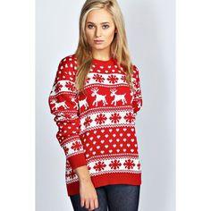 Rudolph 3D Nose Pom Pom Christmas Jumper | Reindeer & Snowflake ...