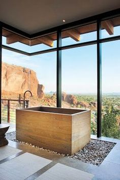 style at home in Arizona! The gravel rest is phenomenal. Love it A custom Japanese soaking tub is wrapped in teak and enjoys commanding views of Camelback Mountain. The loose pebble floor allows water splashed out of the tub to drain easily. Dream Bathrooms, Beautiful Bathrooms, Modern Bathroom, Master Bathroom, Contemporary Bathrooms, Small Bathroom, Bathroom Interior, Bad Inspiration, Bathroom Inspiration