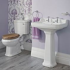 Lavabo 59cm & WC Rétro Abattant au choix - Image 1