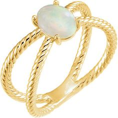 14K Yellow Genuine Opal Cabochon Rope Ring