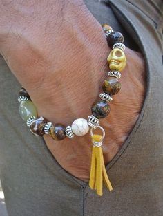 Men's Bracelet with Semi Precious Agate Tiger's Eye by tocijewelry