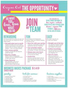 Join my team!  Email me for inquiries journeylocket.origamiowl.com or visit my page www.journeylocket.origamiowl.com. My ID 13579354