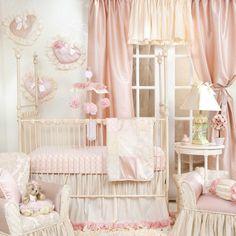 Elegant Designer Pink Floral Patchwork Baby Girl Nursery 3pc Crib Bedding Set #GlennaJean