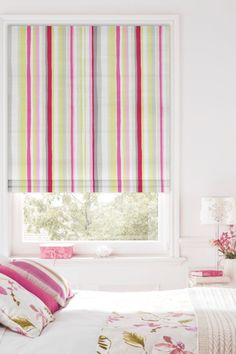 Add a touch of pink to your home with the Grace Summer Roman Blind, featuring vertical stripes in a range of tones it's the perfect pick for a little girl's bedroom. Pink Grey, Grey And White, Hot Pink, Skylight Blinds, Blinds For You, Blackout Blinds, Roman Blinds, Vertical Stripes, Stripes Design