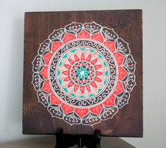 Mandala Art- Mandala on Distressed Wood- Mandala Wall Hanging- Mandala Decor- Red Mandala by MandalasbyAriell on Etsy