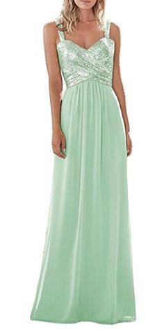 f79a971834c XJLY Straps Sequins Long Chiffon Prom Bridesmaid Dress Wedding Party Dress  at Amazon Women s Clothing store