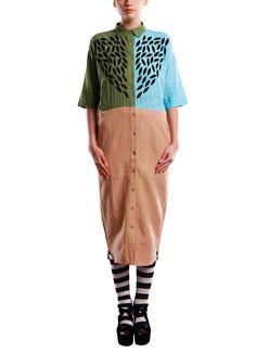 Indian Fashion Designers - Vijay Balhara - Contemporary Indian Designer - Dresses - VB-AW14-TL07 - Cool Colour Block Dress