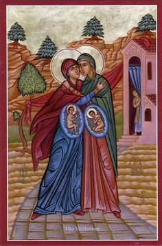 Beautiful icon of the Virgin Mary and Her cousin Elizabeth, pregnant with Jesus Christ and John the Baptist respectively. Byzantine, TX: Orthodox prayers for pregnant mother and unborn child. Orthodox Prayers, Orthodox Christianity, Catholic Memes, Catholic Art, Roman Catholic, Advent Catholic, Catholic Saints, Blessed Mother Mary, Blessed Virgin Mary