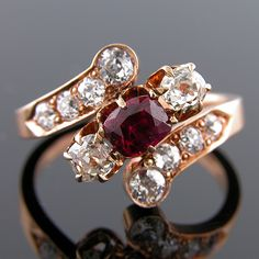 Ruby and Diamond 14k Pink Gold Antique Ring | eBay