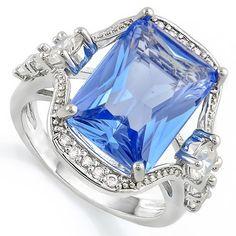 5.25ct Tanzanite and White Sapphire, 14k White Gold Filled Ring Glamsm8879. Starting at $1